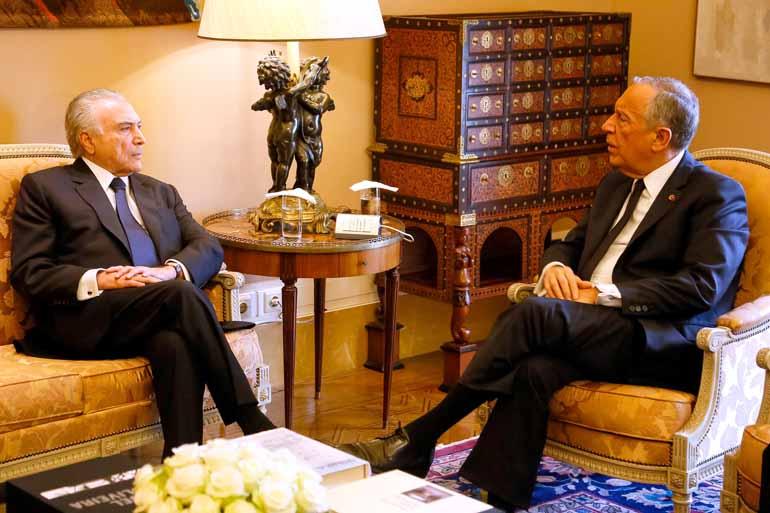Isac Nóbrega/PR - Temer durante encontro com o presidente de Portugal, Marcelo Rebelo de Sousa: reforçar relações com o país europeu