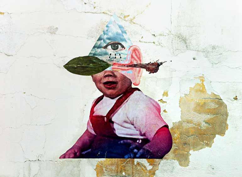 Fotos: Divulgação - Arte de Alexandre 'Bisnaga', que integra a mostra, traz grafite misturado a colagens de lambe-lambe
