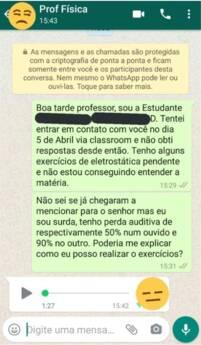 Aluna surda de Londrina pede explicação sobre conteúdo ministrado ao professor e a recebe por áudio