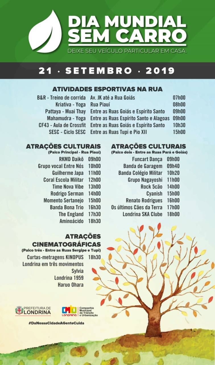 Dia Mundial sem Carro reúne mais de 20 atrações artísticas gratuitas em Londrina